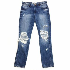 Zara TRF Cigarette Distressed Boyfriend Jeans